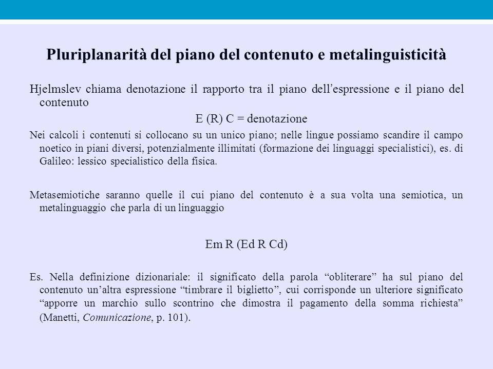 Pluriplanarità del piano del contenuto e metalinguisticità Hjelmslev chiama denotazione il rapporto tra il piano dell'espressione e il piano del conte