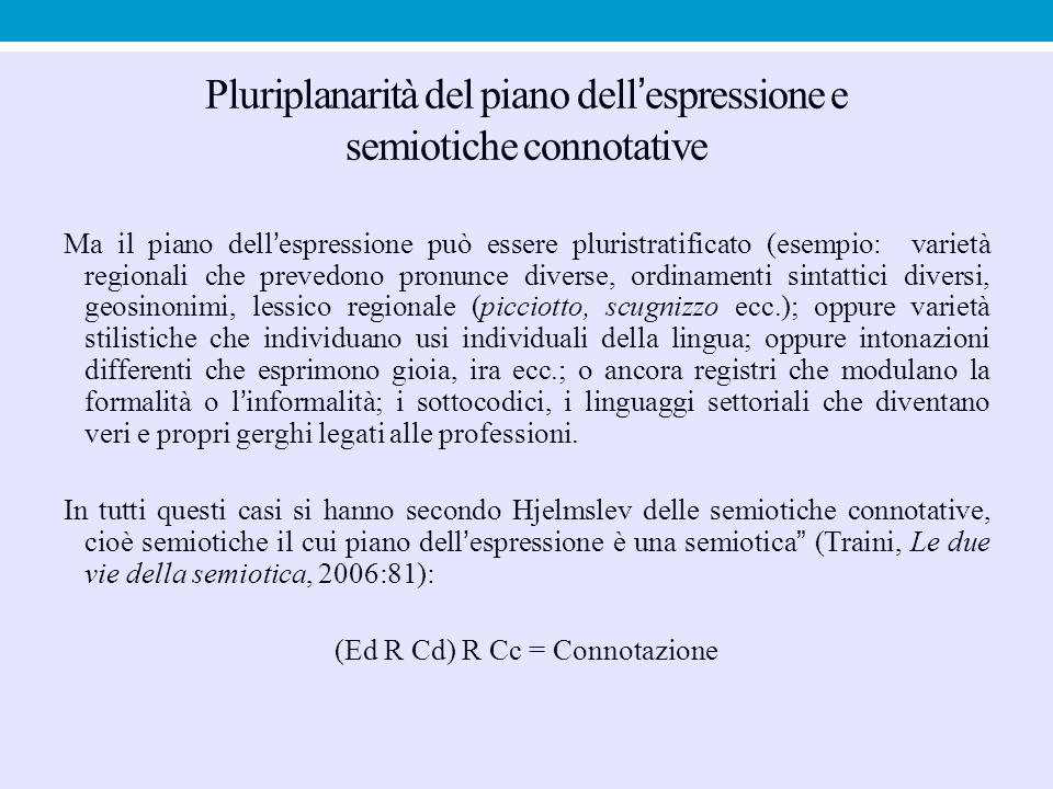 Pluriplanarità del piano dell'espressione e semiotiche connotative Ma il piano dell'espressione può essere pluristratificato (esempio: varietà regiona