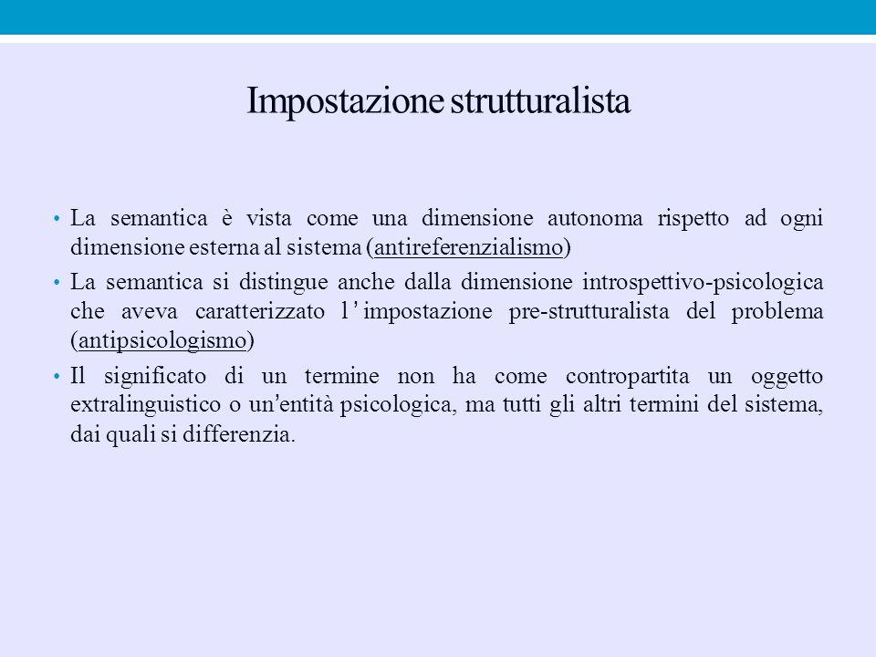 Impostazione strutturalista La semantica è vista come una dimensione autonoma rispetto ad ogni dimensione esterna al sistema (antireferenzialismo) La