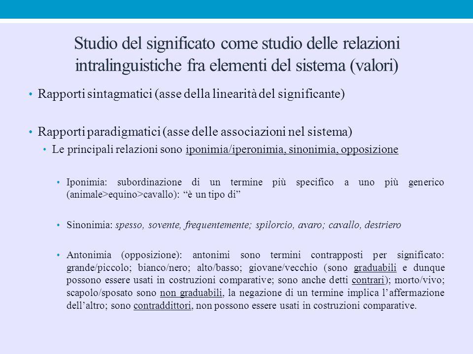 Studio del significato come studio delle relazioni intralinguistiche fra elementi del sistema (valori) Rapporti sintagmatici (asse della linearità del