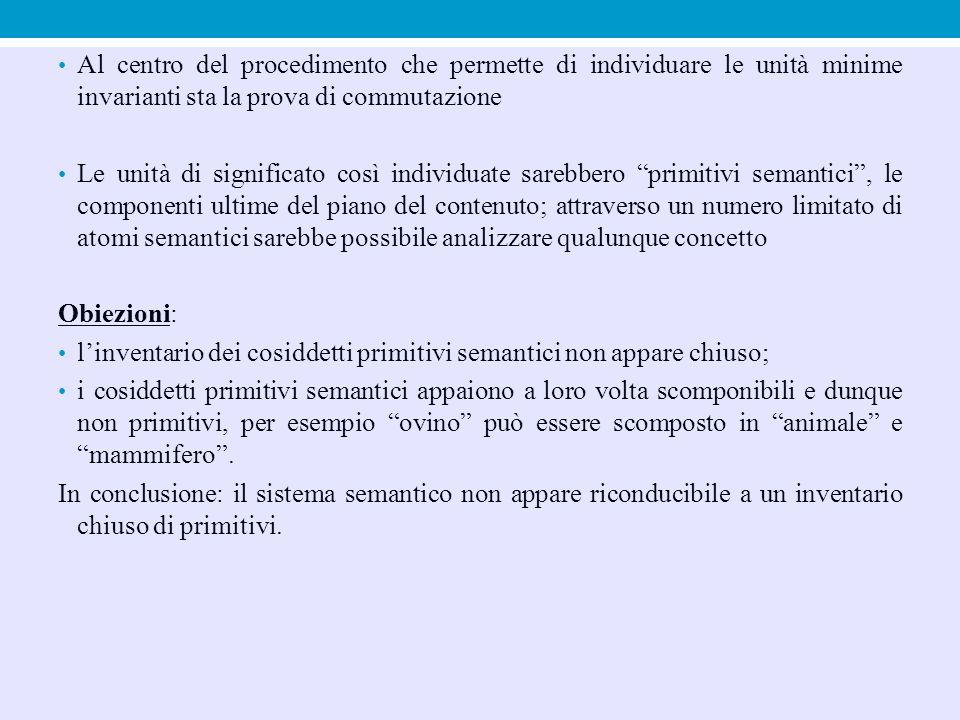 Al centro del procedimento che permette di individuare le unità minime invarianti sta la prova di commutazione Le unità di significato così individuat