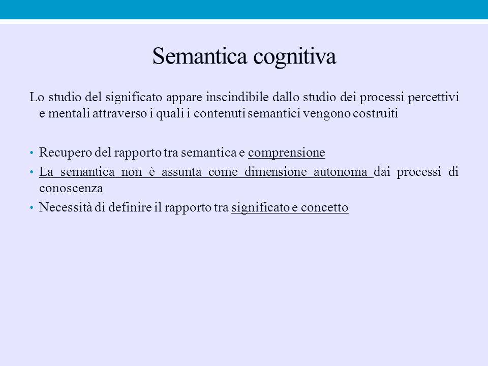 Semantica cognitiva Lo studio del significato appare inscindibile dallo studio dei processi percettivi e mentali attraverso i quali i contenuti semant