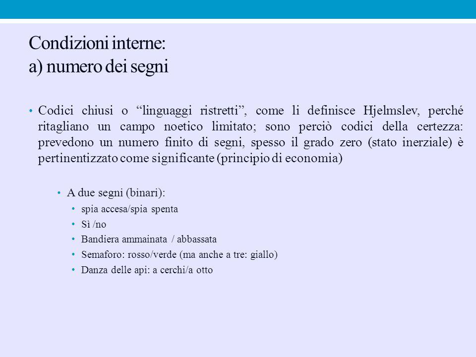 """Condizioni interne: a) numero dei segni Codici chiusi o """"linguaggi ristretti"""", come li definisce Hjelmslev, perché ritagliano un campo noetico limitat"""