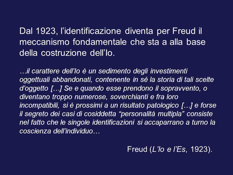 Dal 1923, l'identificazione diventa per Freud il meccanismo fondamentale che sta a alla base della costruzione dell'Io.