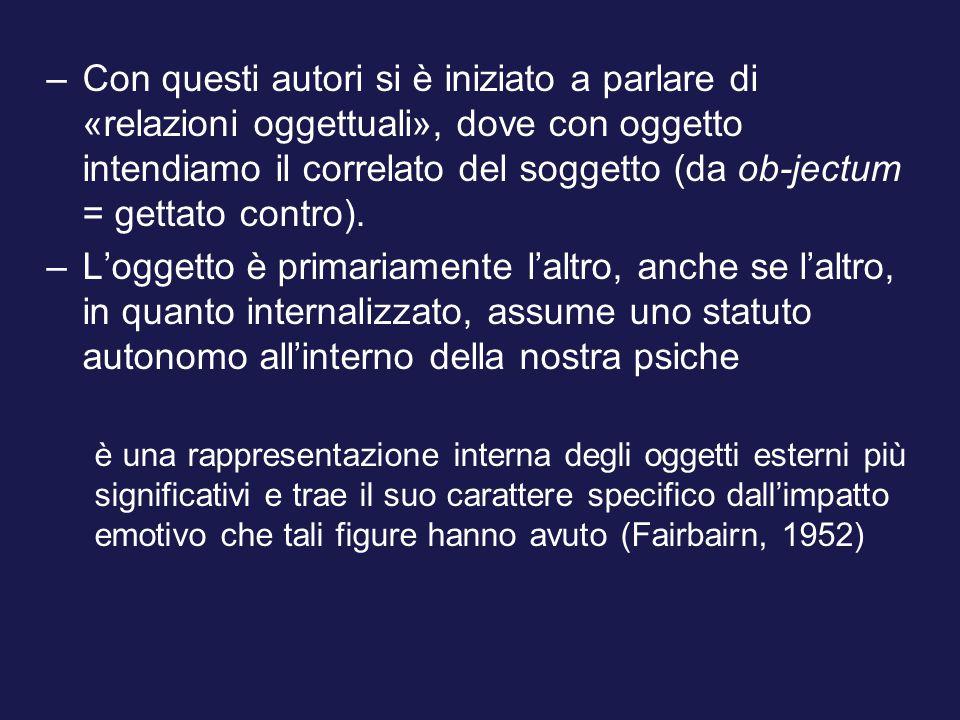 –Con questi autori si è iniziato a parlare di «relazioni oggettuali», dove con oggetto intendiamo il correlato del soggetto (da ob-jectum = gettato contro).