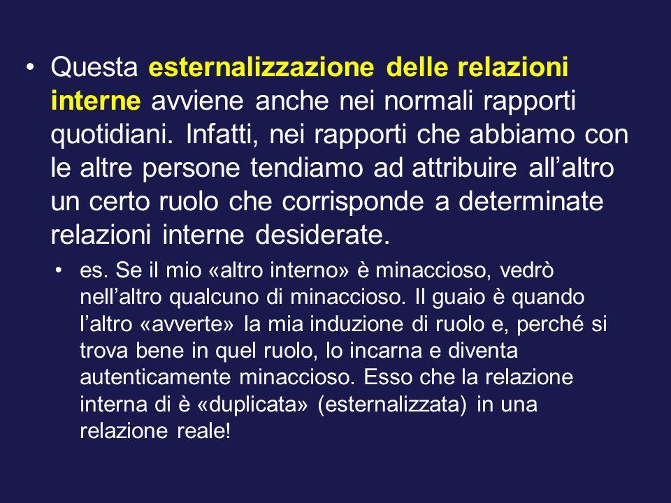 Questa esternalizzazione delle relazioni interne avviene anche nei normali rapporti quotidiani.