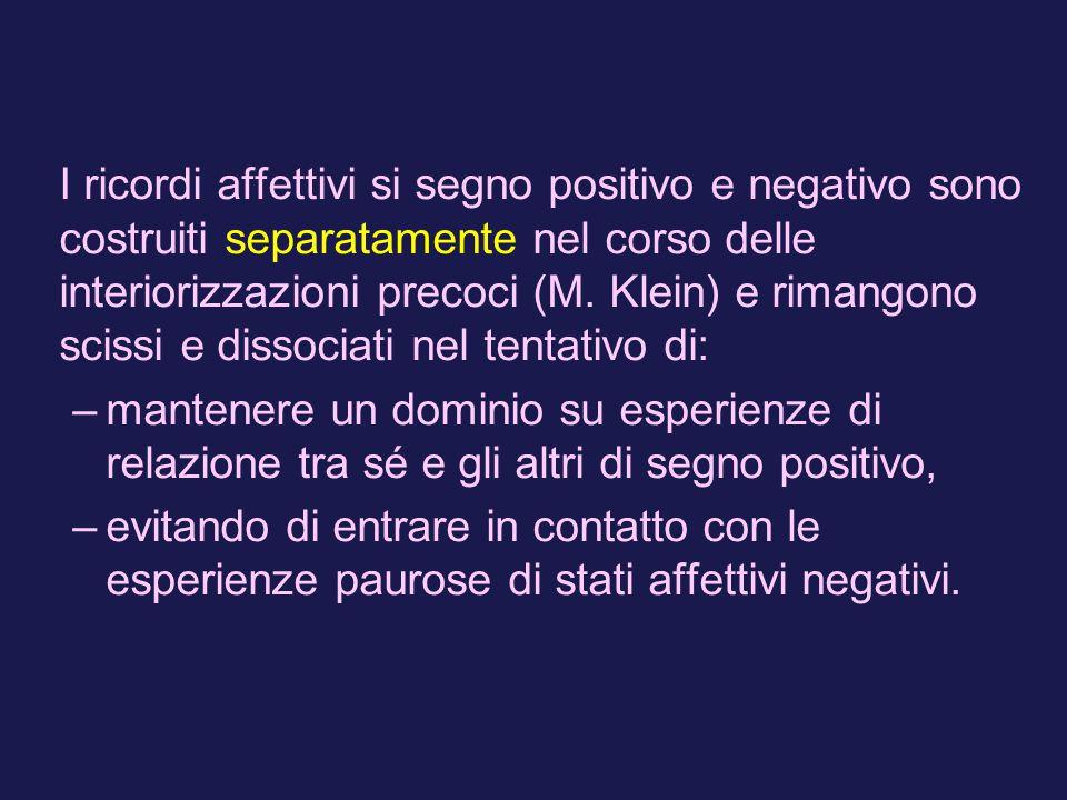 I ricordi affettivi si segno positivo e negativo sono costruiti separatamente nel corso delle interiorizzazioni precoci (M.
