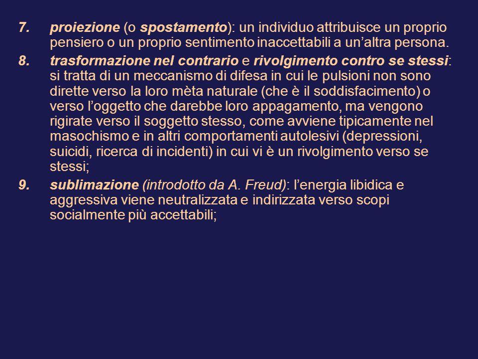 7.proiezione (o spostamento): un individuo attribuisce un proprio pensiero o un proprio sentimento inaccettabili a un'altra persona.