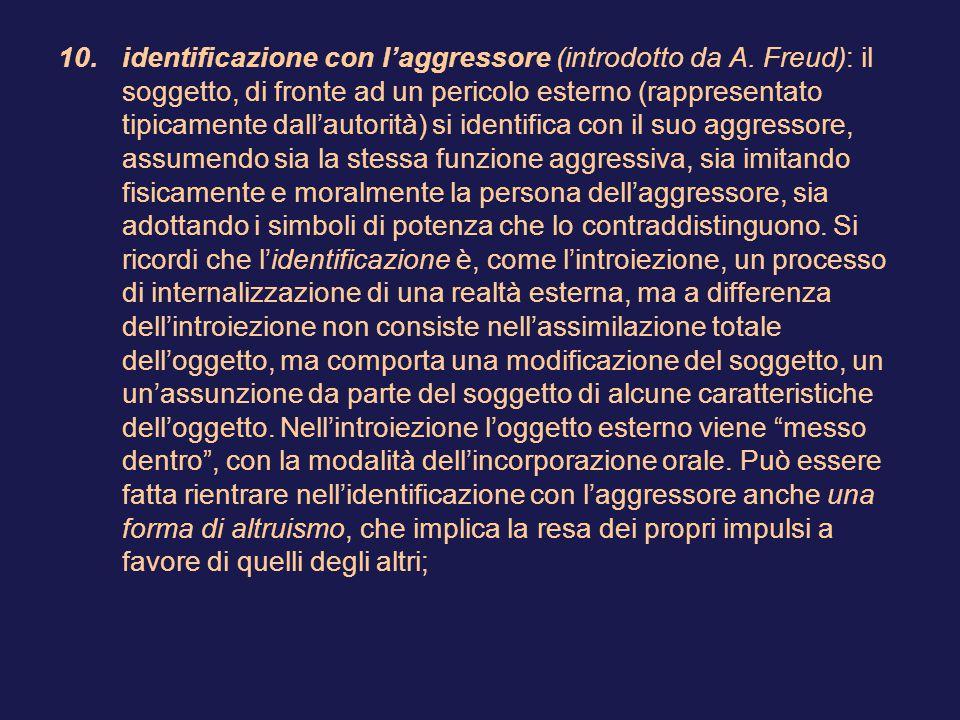 10.identificazione con l'aggressore (introdotto da A.