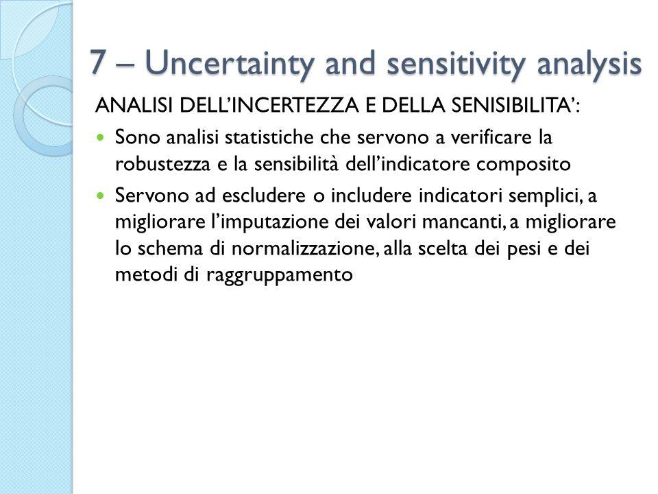 7 – Uncertainty and sensitivity analysis ANALISI DELL'INCERTEZZA E DELLA SENISIBILITA': Sono analisi statistiche che servono a verificare la robustezza e la sensibilità dell'indicatore composito Servono ad escludere o includere indicatori semplici, a migliorare l'imputazione dei valori mancanti, a migliorare lo schema di normalizzazione, alla scelta dei pesi e dei metodi di raggruppamento