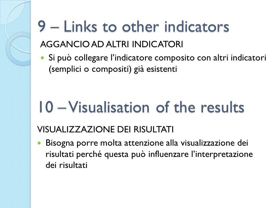 9 – Links to other indicators AGGANCIO AD ALTRI INDICATORI Si può collegare l'indicatore composito con altri indicatori (semplici o compositi) già esi