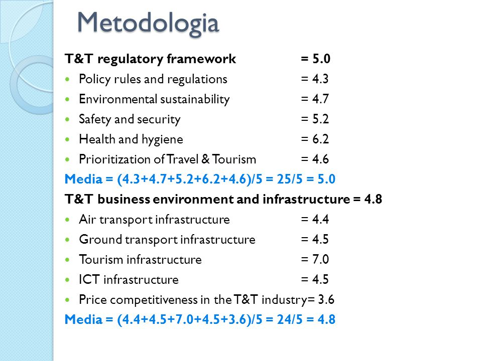 Metodologia T&T regulatory framework = 5.0 Policy rules and regulations = 4.3 Environmental sustainability = 4.7 Safety and security= 5.2 Health and hygiene = 6.2 Prioritization of Travel & Tourism= 4.6 Media = (4.3+4.7+5.2+6.2+4.6)/5 = 25/5 = 5.0 T&T business environment and infrastructure = 4.8 Air transport infrastructure = 4.4 Ground transport infrastructure= 4.5 Tourism infrastructure = 7.0 ICT infrastructure = 4.5 Price competitiveness in the T&T industry= 3.6 Media = (4.4+4.5+7.0+4.5+3.6)/5 = 24/5 = 4.8