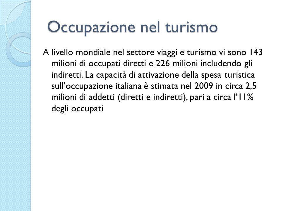 Occupazione nel turismo A livello mondiale nel settore viaggi e turismo vi sono 143 milioni di occupati diretti e 226 milioni includendo gli indiretti