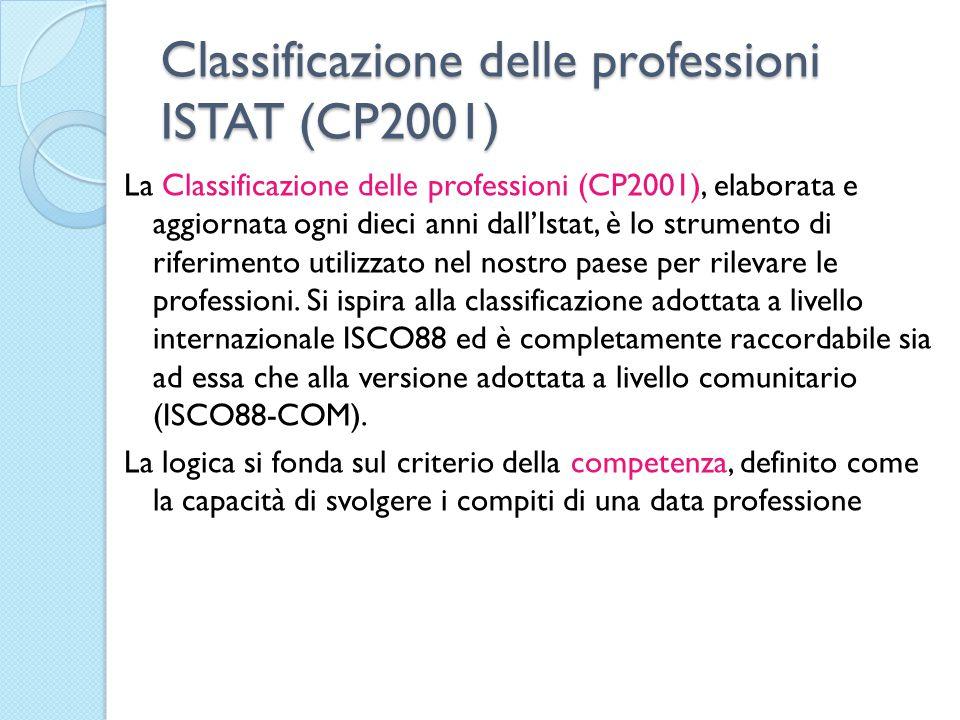Classificazione delle professioni ISTAT (CP2001) La Classificazione delle professioni (CP2001), elaborata e aggiornata ogni dieci anni dall'Istat, è l