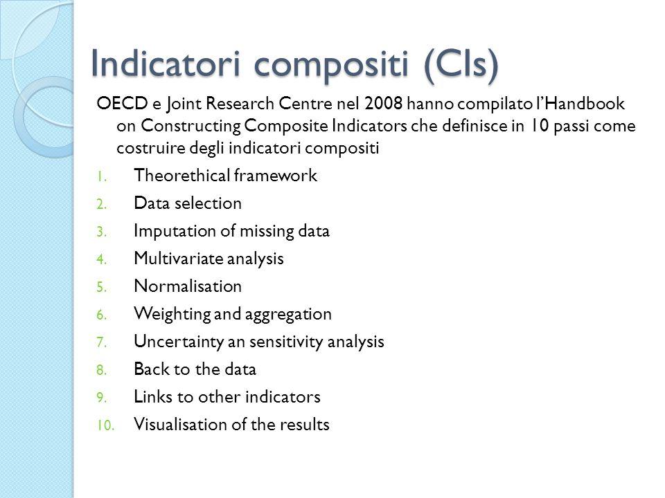 Indicatori compositi (CIs) OECD e Joint Research Centre nel 2008 hanno compilato l'Handbook on Constructing Composite Indicators che definisce in 10 passi come costruire degli indicatori compositi 1.