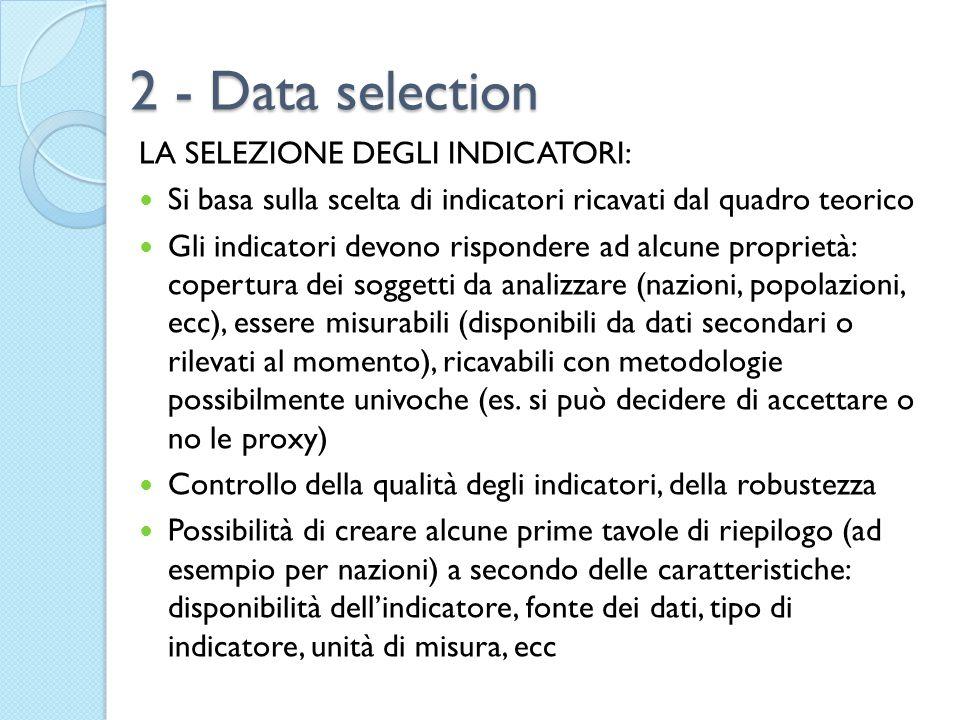 2 - Data selection LA SELEZIONE DEGLI INDICATORI: Si basa sulla scelta di indicatori ricavati dal quadro teorico Gli indicatori devono rispondere ad a