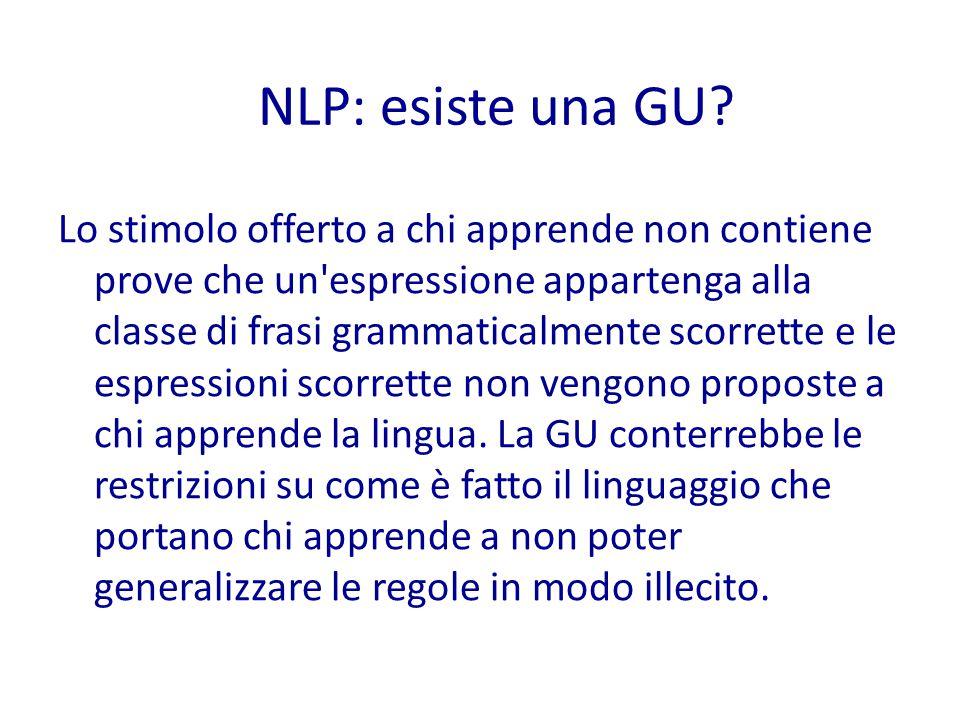 Lo stimolo offerto a chi apprende non contiene prove che un espressione appartenga alla classe di frasi grammaticalmente scorrette e le espressioni scorrette non vengono proposte a chi apprende la lingua.