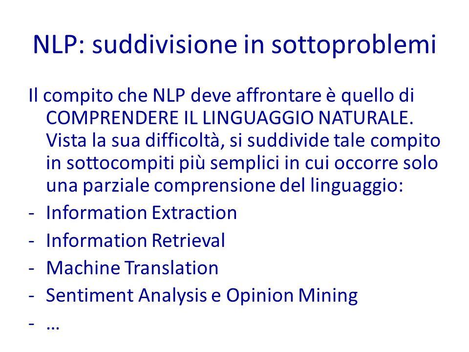 NLP: suddivisione in sottoproblemi Il compito che NLP deve affrontare è quello di COMPRENDERE IL LINGUAGGIO NATURALE.