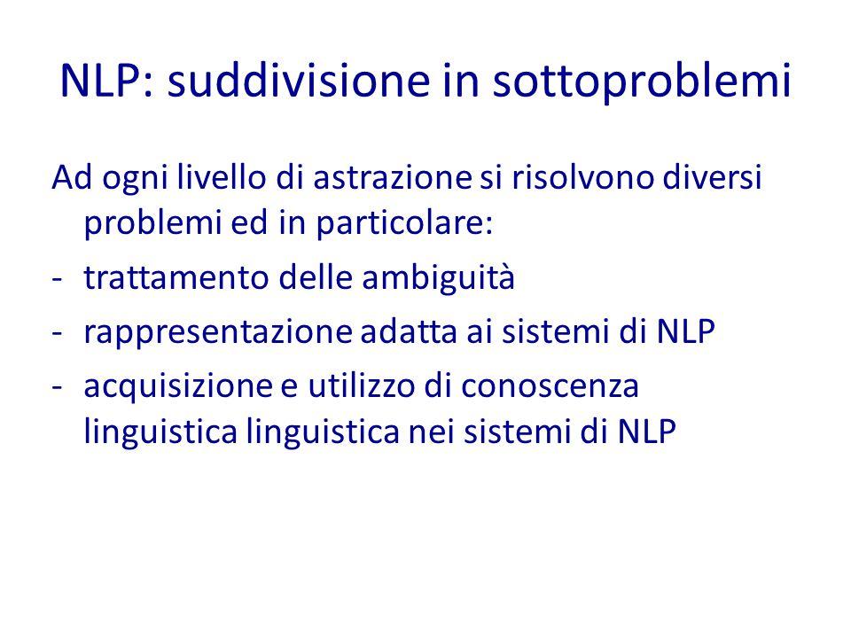 NLP: suddivisione in sottoproblemi Ad ogni livello di astrazione si risolvono diversi problemi ed in particolare: -trattamento delle ambiguità -rappresentazione adatta ai sistemi di NLP -acquisizione e utilizzo di conoscenza linguistica linguistica nei sistemi di NLP