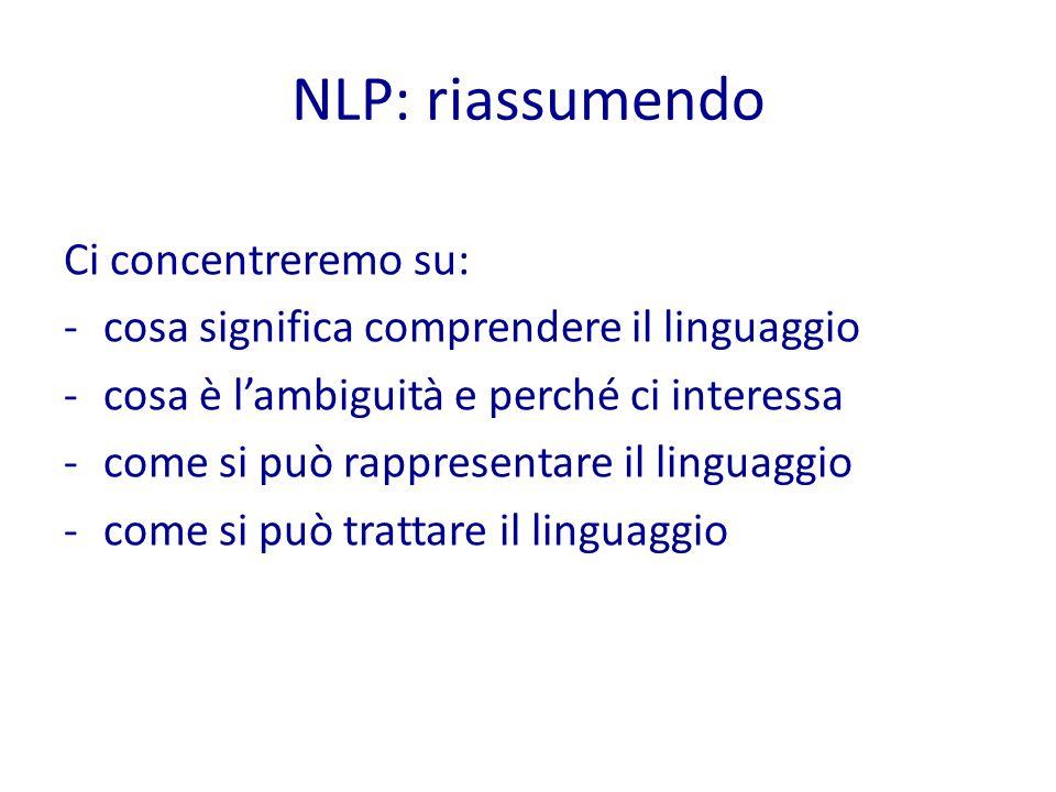 NLP: riassumendo Ci concentreremo su: -cosa significa comprendere il linguaggio -cosa è l'ambiguità e perché ci interessa -come si può rappresentare il linguaggio -come si può trattare il linguaggio