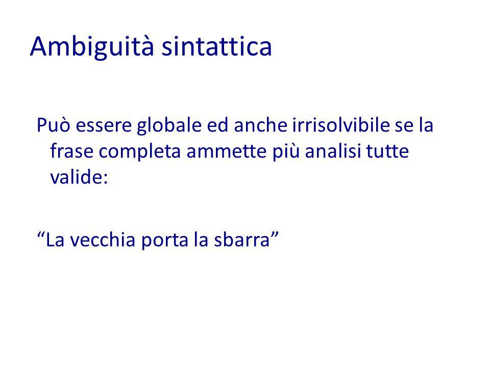 Ambiguità sintattica Può essere globale ed anche irrisolvibile se la frase completa ammette più analisi tutte valide: La vecchia porta la sbarra