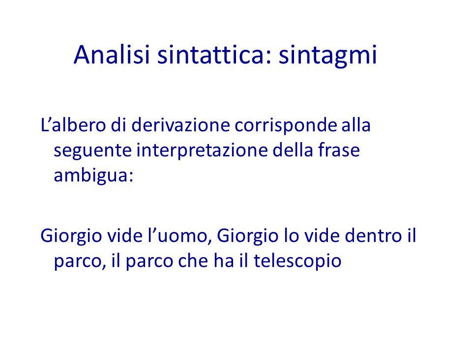 L'albero di derivazione corrisponde alla seguente interpretazione della frase ambigua: Giorgio vide l'uomo, Giorgio lo vide dentro il parco, il parco che ha il telescopio Analisi sintattica: sintagmi