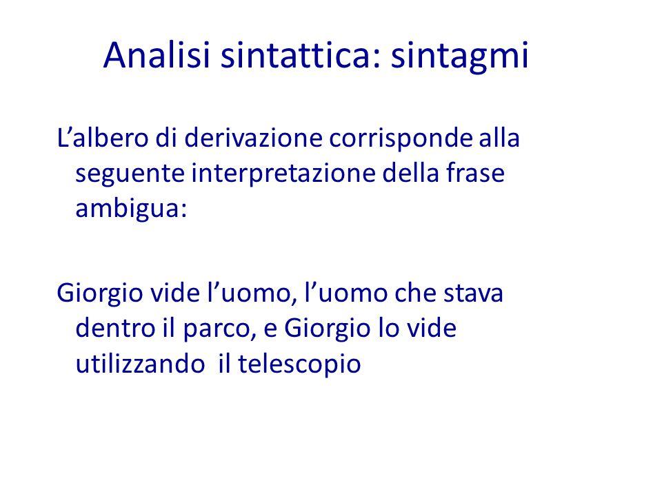 L'albero di derivazione corrisponde alla seguente interpretazione della frase ambigua: Giorgio vide l'uomo, l'uomo che stava dentro il parco, e Giorgio lo vide utilizzando il telescopio Analisi sintattica: sintagmi