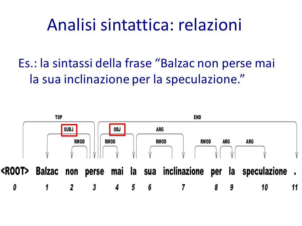 Es.: la sintassi della frase Balzac non perse mai la sua inclinazione per la speculazione. Analisi sintattica: relazioni