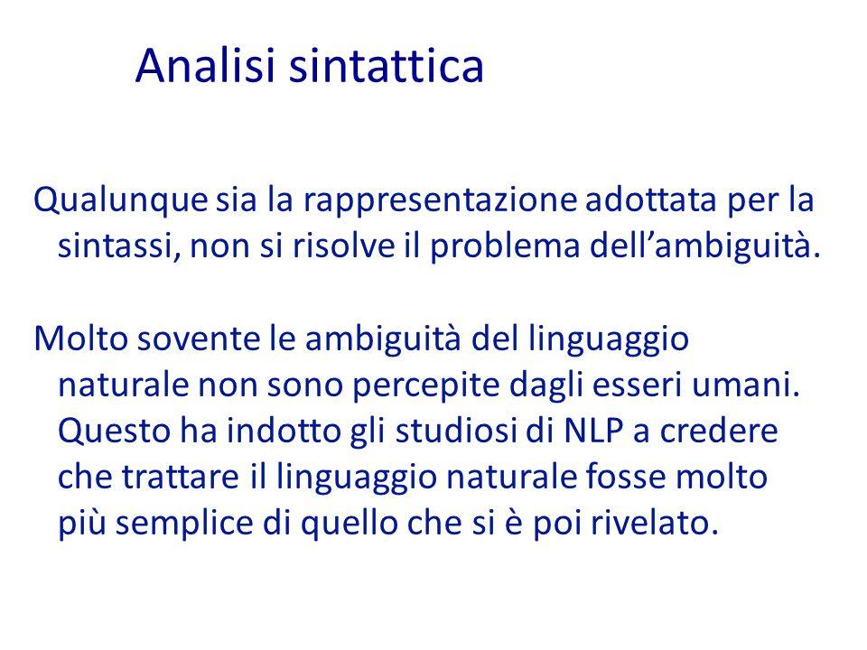 Qualunque sia la rappresentazione adottata per la sintassi, non si risolve il problema dell'ambiguità.
