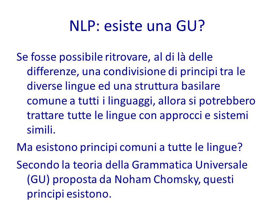 NLP: approcci L'applicazione di un algoritmo che segue l'approccio basato su regole anziché quello basato su corpora ha degli effetti significativi su: -come si costruisce il sistema di NLP -quale conoscenza serve al sistema -come deve essere acquisita la conoscenza -come deve essere valutato il risultato prodotto dal sistema