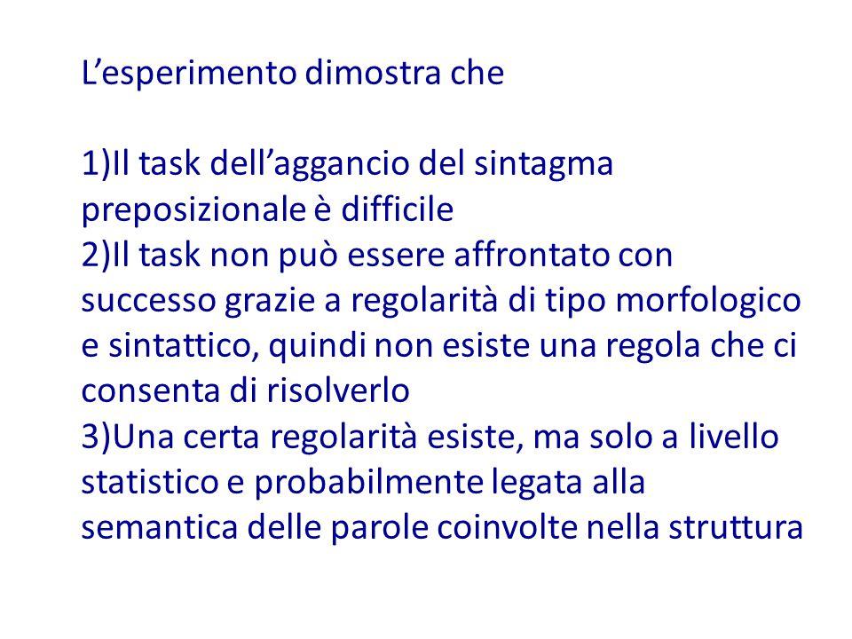 L'esperimento dimostra che 1)Il task dell'aggancio del sintagma preposizionale è difficile 2)Il task non può essere affrontato con successo grazie a regolarità di tipo morfologico e sintattico, quindi non esiste una regola che ci consenta di risolverlo 3)Una certa regolarità esiste, ma solo a livello statistico e probabilmente legata alla semantica delle parole coinvolte nella struttura