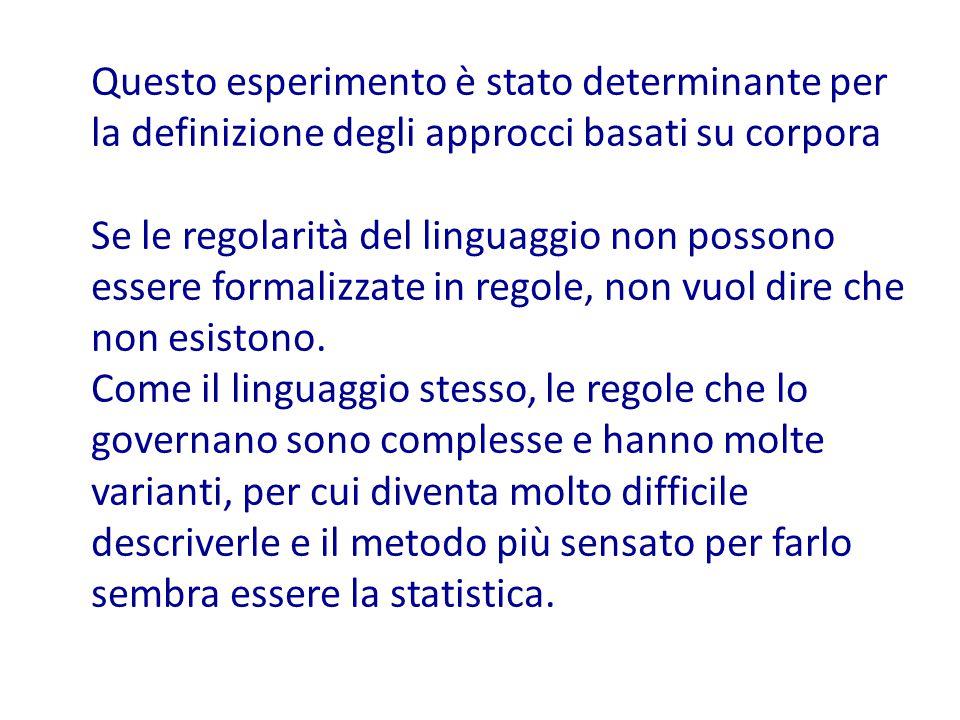 Questo esperimento è stato determinante per la definizione degli approcci basati su corpora Se le regolarità del linguaggio non possono essere formalizzate in regole, non vuol dire che non esistono.
