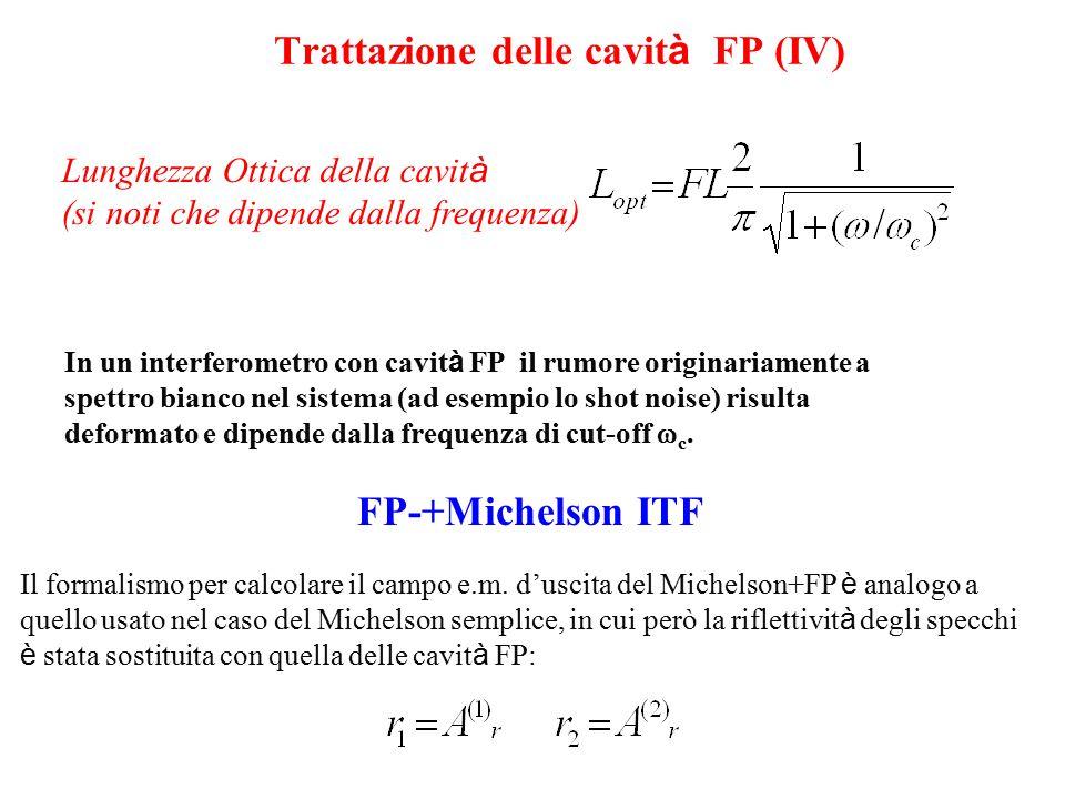 v7 FP+Michelson ITF, amplificazione del segnale ( sintesi) Cavit à Fabry-Perot : amplifica la trasduzione lunghezza -fase Finesse alta  d  /dL pi ù grande Aspetto negativo: linterferometro funziona solo se le FP sono in risonanza