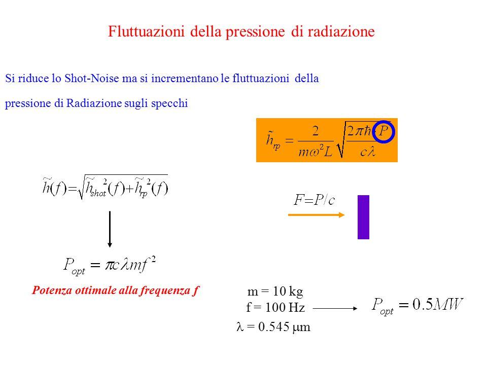 v8 Std readout: meter/mechanics: back-action M = massa sospesa dello specchio; F e P non possono crescere senza indurre un'azione meccanica M può esser scelto in modo da ridurre l ' effetto Densit à spettrale di rumore di spostamento dovuto alla Pressione di Radiazione sugli specchi sospesi tuning F,P,L,m thermal noise SQL è oggi ancora lontano ma, se si riesce ad alzare P ed il thermal noise è basso come è possibile ottimizzare…