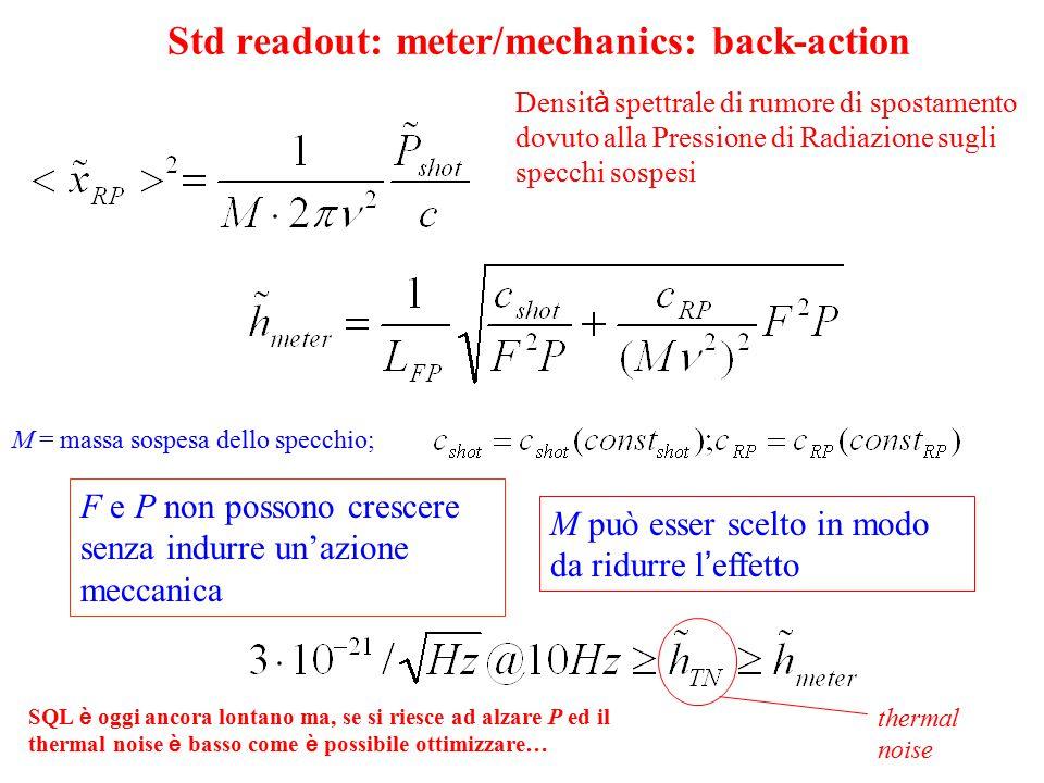 v8 Std readout: meter/mechanics: back-action M = massa sospesa dello specchio; F e P non possono crescere senza indurre un'azione meccanica M può esse