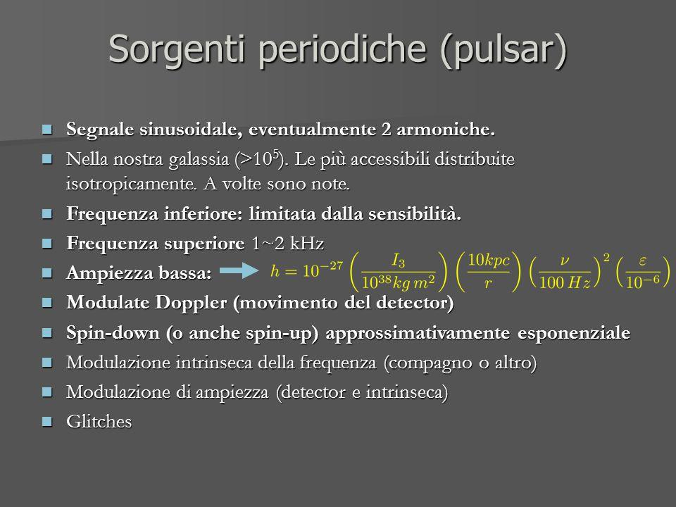 Sorgenti periodiche (pulsar) Segnale sinusoidale, eventualmente 2 armoniche. Segnale sinusoidale, eventualmente 2 armoniche. Nella nostra galassia (>1