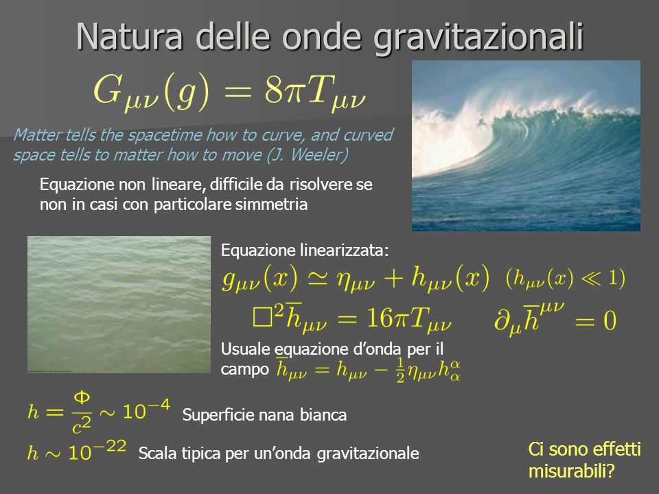 Natura delle onde gravitazionali Matter tells the spacetime how to curve, and curved space tells to matter how to move (J. Weeler) Equazione non linea