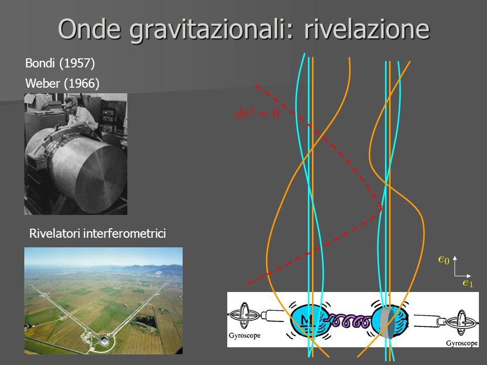 Onde gravitazionali: rivelazione Bondi (1957) Weber (1966) Rivelatori interferometrici