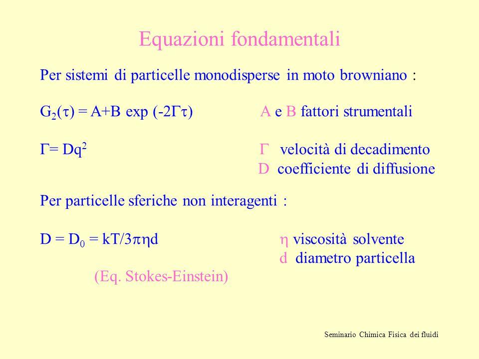 Equazioni fondamentali Per sistemi di particelle monodisperse in moto browniano : G 2 (  ) = A+B exp (-2  ) A e B fattori strumentali  = Dq 2 