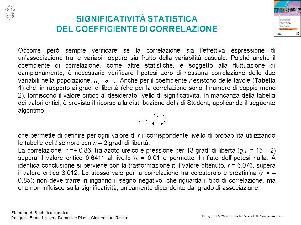 Elementi di Statistica medica Pasquale Bruno Lantieri, Domenico Risso, Giambattista Ravera Copyright © 2007 – The McGraw-Hill Companies s.r.l.