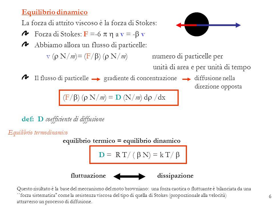 Equilibrio dinamico La forza di attrito viscoso è la forza di Stokes: Forza di Stokes: F =-6   a v = -  v Abbiamo allora un flusso di particelle: