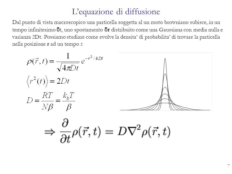 L'equazione di diffusione 7 Dal punto di vista macroscopico una particella soggetta al un moto browniano subisce, in un tempo infinitesimo δ t, uno sp