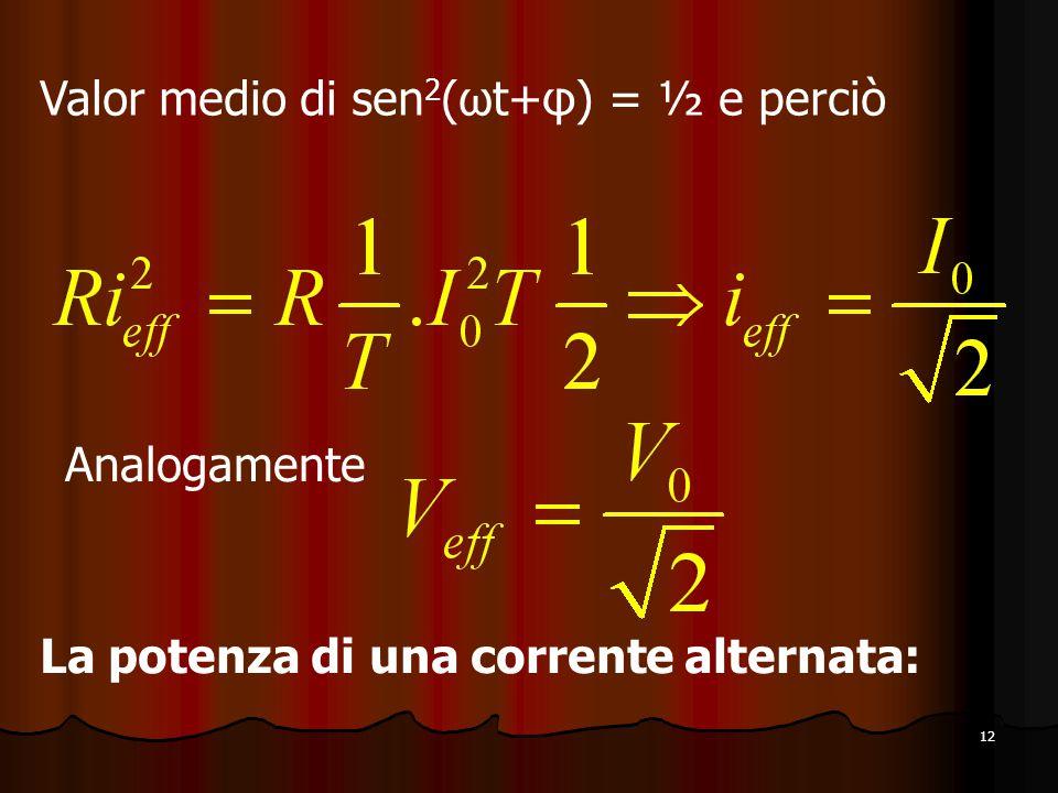 12 Valor medio di sen 2 (ωt+φ) = ½ e perciò Analogamente La potenza di una corrente alternata: