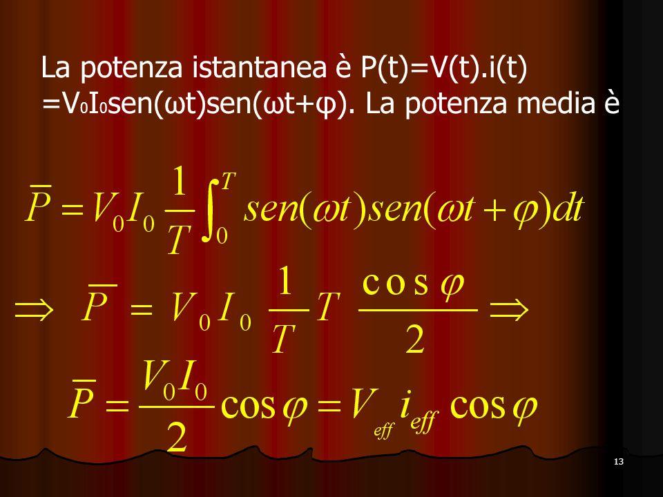 13 La potenza istantanea è P(t)=V(t).i(t) =V 0 I 0 sen(ωt)sen(ωt+φ). La potenza media è