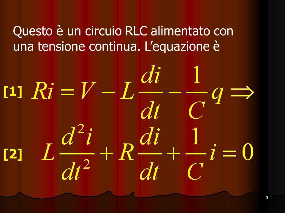 3 Questo è un circuio RLC alimentato con una tensione continua. L'equazione è [1] [2]