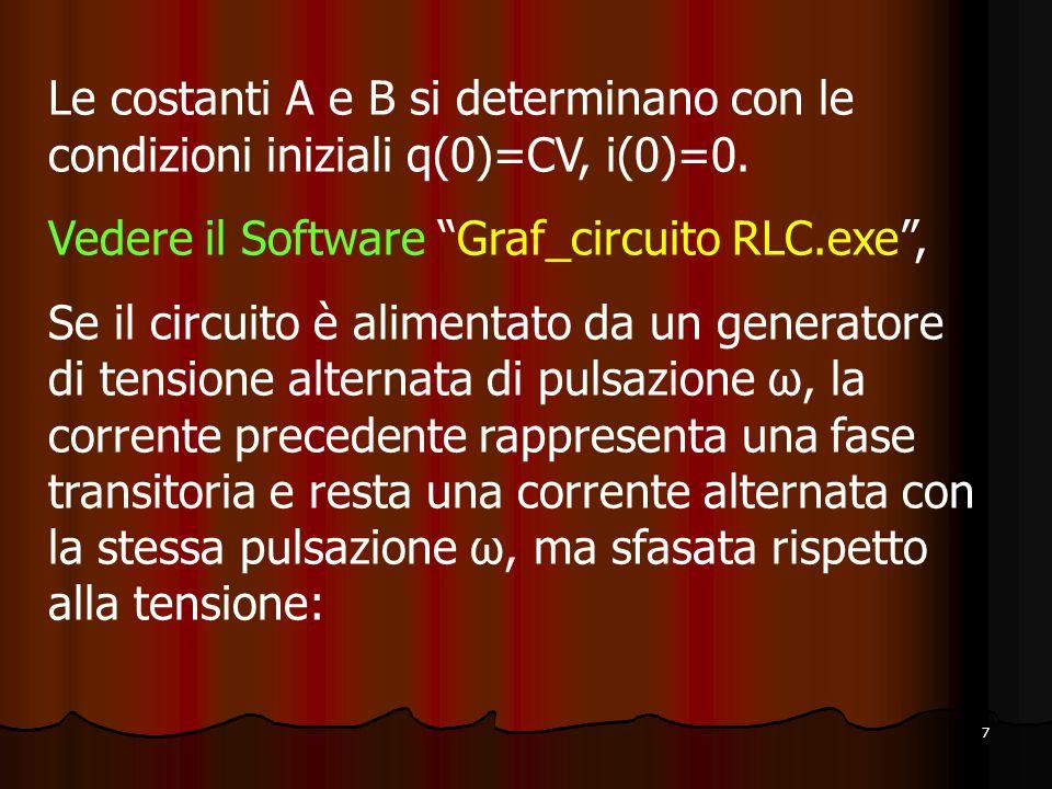 7 Le costanti A e B si determinano con le condizioni iniziali q(0)=CV, i(0)=0.