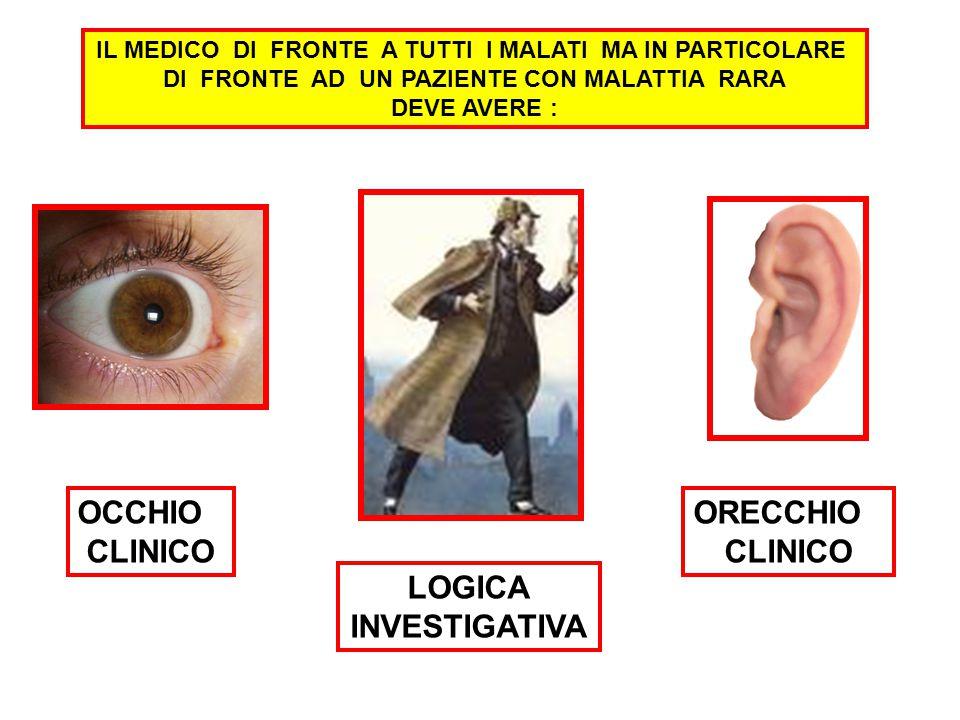 OCCHIO CLINICO ORECCHIO CLINICO LOGICA INVESTIGATIVA IL MEDICO DI FRONTE A TUTTI I MALATI MA IN PARTICOLARE DI FRONTE AD UN PAZIENTE CON MALATTIA RARA DEVE AVERE :