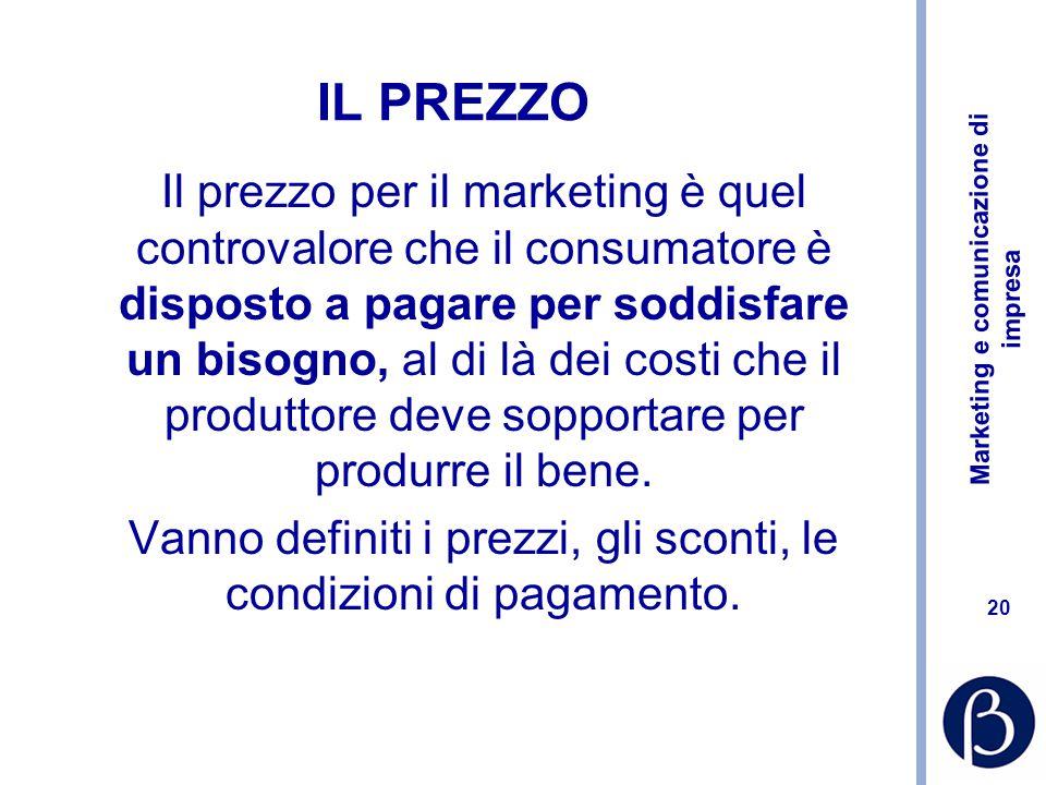 Marketing e comunicazione di impresa 20 IL PREZZO Il prezzo per il marketing è quel controvalore che il consumatore è disposto a pagare per soddisfare un bisogno, al di là dei costi che il produttore deve sopportare per produrre il bene.