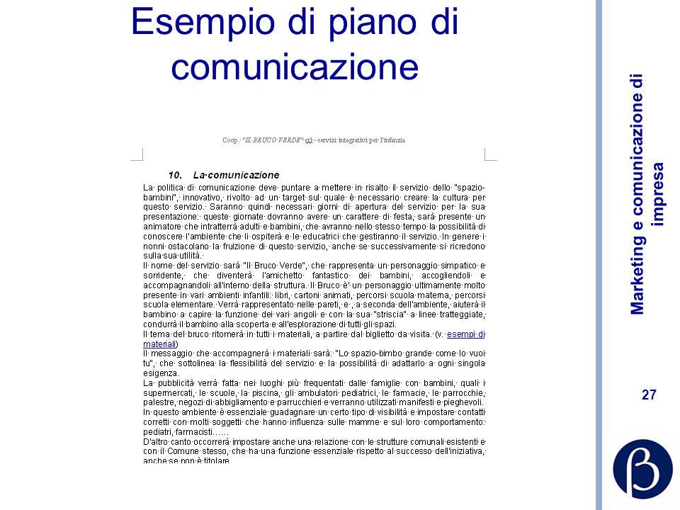 Marketing e comunicazione di impresa 27 Esempio di piano di comunicazione