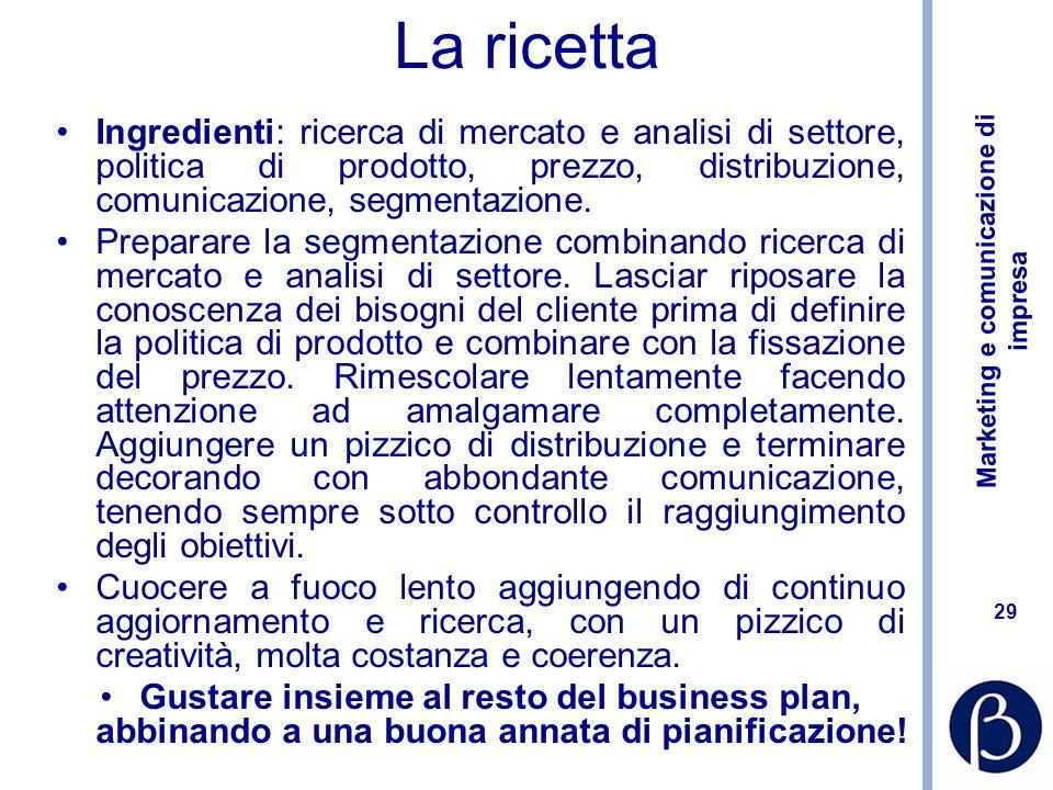 Marketing e comunicazione di impresa 29 La ricetta Ingredienti: ricerca di mercato e analisi di settore, politica di prodotto, prezzo, distribuzione, comunicazione, segmentazione.